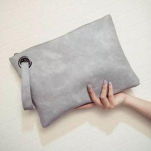 Oversized Gray Clutch Handbag